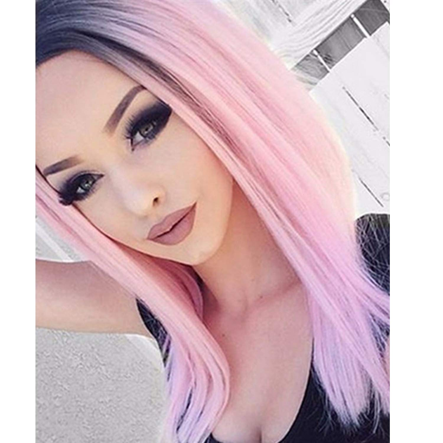 GNIMEGIL High Temperature Fiber Long Straight Hair Ombre Wigs Black into Pink Cosplay Costume Wigs for Women Power Puff Girl Pink Fancy Dress Party Wig (Wig Head Circumference Size is 20-24inches)