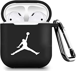 Designed for AirPods 2 & 1 Silicone Case Cover(Black-rt)