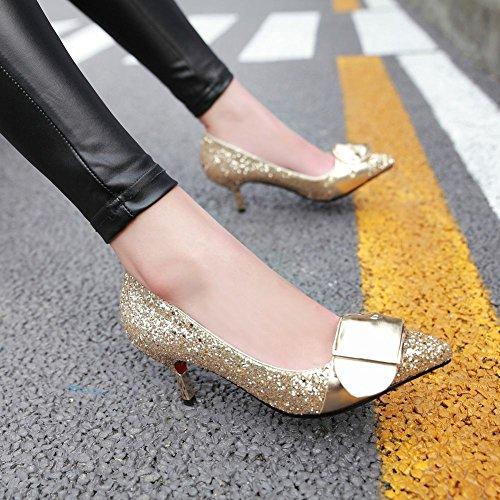MissSaSa Damen geshlossen Pointed toe Stiletto Pumps mit Pailletten Gold