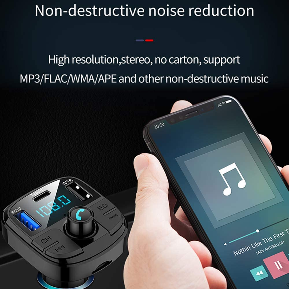ONEVER Bluetooth FM Transmitter for Car Wireless Bluetooth MP3 Player Adapter Car Kit with Hand-Free Calling and LCD Display Music Player Support TF Card USB Flash Drive AUX Input//Out