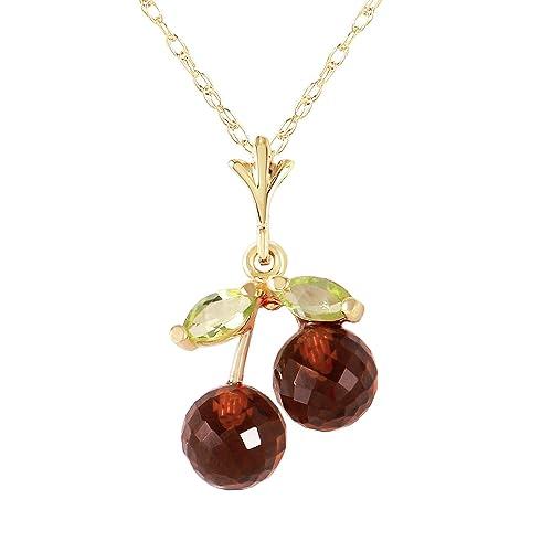 1.45 Carat 14k Solid Gold Cherry Pie Garnet Peridot Pendant Necklace