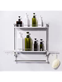 FFCAT Bathroom Shelf No Drilling 2 Tiers With Towel Rack And Hooks Kitchen  Storage Organizer Adhesive