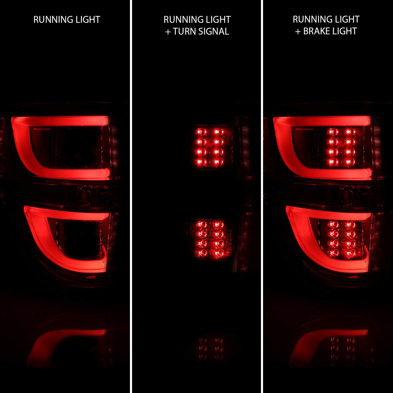 AmeriLite Black LED Light Bar Replacement Tail Lights Set for 09-14 Ford F-150 Passenger and Driver Side