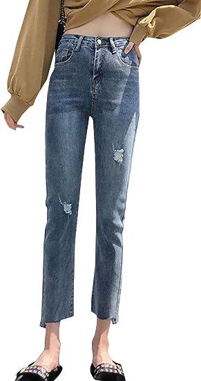 BeiBang(バイバン)ジーンズ レディース デニムパンツ ロング ジーパン ダメージ 大きいサイズ ストレート パンツ 着痩せ ハイウエスト Gパン おしゃれ ボトムス