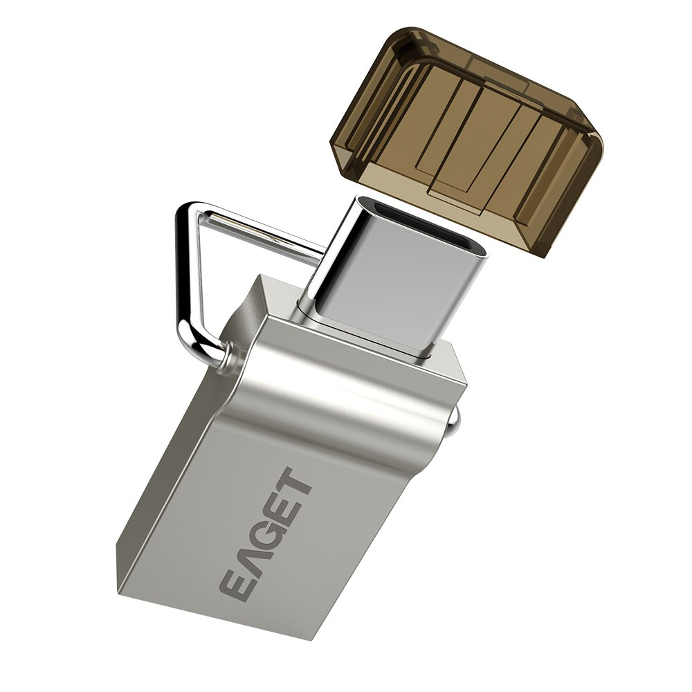 Eaget Dual USB Flash Drive 32G USB Type C 3.1 + USB 3.0 Micro Metal Key Ring High Speed Waterproof by Eaget