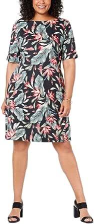 Karen Scott Sport Womens Plus Floral Mini T-Shirt Dress
