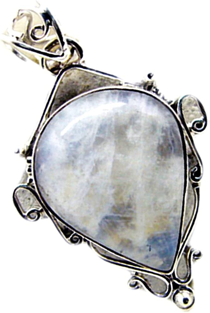 55Carat Real Rainbow Moonstone 925 Sterling Silver Charms for Women Birthstone Pendant Chakra Healing Necklace