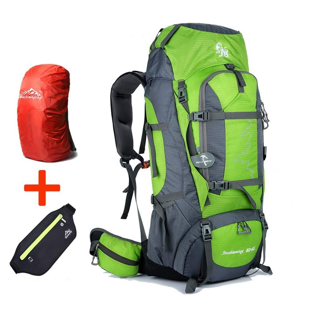 ココ85Lインナーフレームハイキングバックパック着脱式ショルダーストラップ防水アウトドアスポーツバックパック、キャンプ用スキー、フリーレインカバー、ウエストバッグ (色 : 緑) B07QC77LNJ