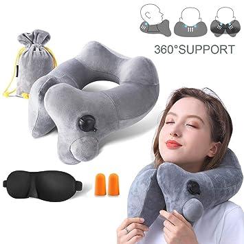 Amazon.com: GXFCWSRY Almohada de viaje inflable, cómoda y ...