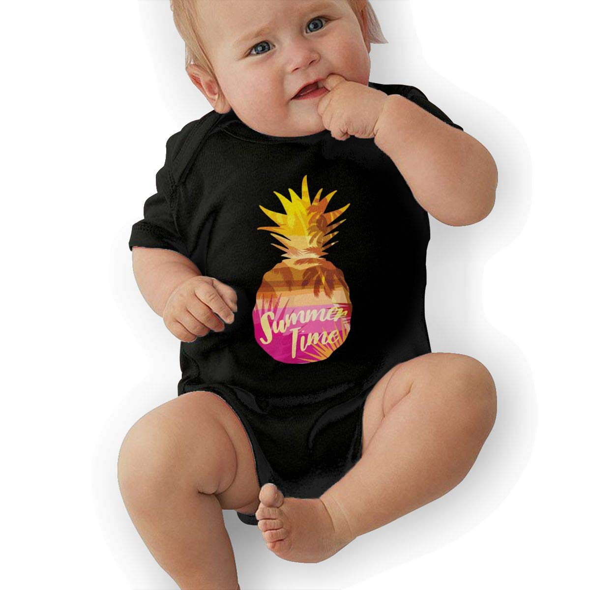 Aloha Hawaii Beach Tropic Pineapple Baby Rompers One Piece Jumpsuits Summer Outfits Clothes Black