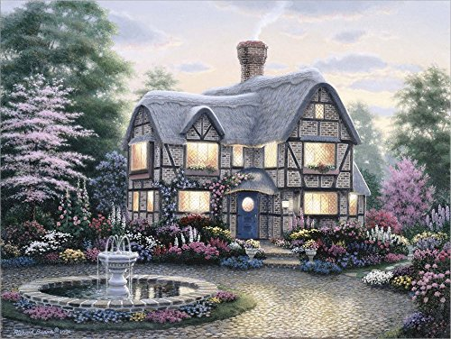 Freeman Cottage Fountain by Richard Burns Laminated Art Print, 24 x 18 inches