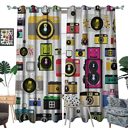 (RenteriaDecor Vintage Patterned Drape for Glass Door Vintage Old Fashioned Photo Cameras Artful Hobby Studio Graphic Decorative Design Waterproof Window Curtain W96 x L84 Multicolor)