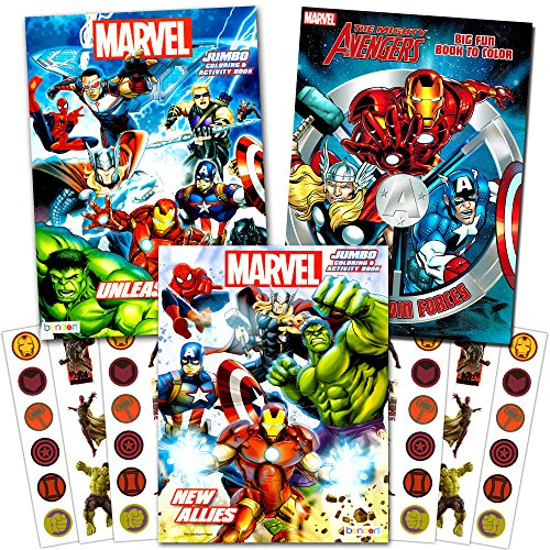 Marvel Avengers Heroes Coloring Book Super Set with Stickers (3 Jumbo Books and Over 300 Stickers Featuring Captain America, Spiderman, Hulk and More!)