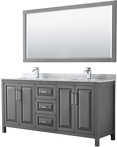 Wyndham Collection Daria 72 inch Double Bathroom Vanity in Dark Gray, White Carrara Marble Countertop, Undermount Square Sinks, and 70 inch Mirror