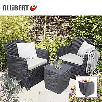 Amazon.de: Allibert Balkon-Loungegruppe Merida Graphit mit Staufach ...