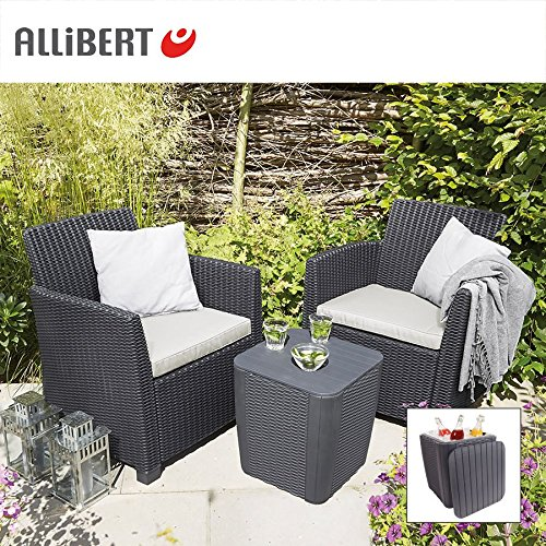 allibert balkon loungegruppe merida graphit mit staufach gartenm bel sitzgruppe g nstig kaufen. Black Bedroom Furniture Sets. Home Design Ideas