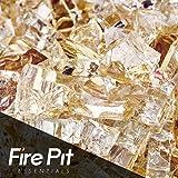 Cheap Gold Strike Reflective Fire Glass 1/4″ Firepit Glass Premium 10 Pounds Great for Fire Pit Fireglass or Fireplace Glass