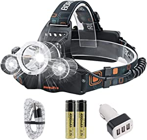Rechargeable flashlight led headlamp, Boruit RJ-3000 headlamp 4 modes 5000 high lumens water resist Led headlight for camping hiking