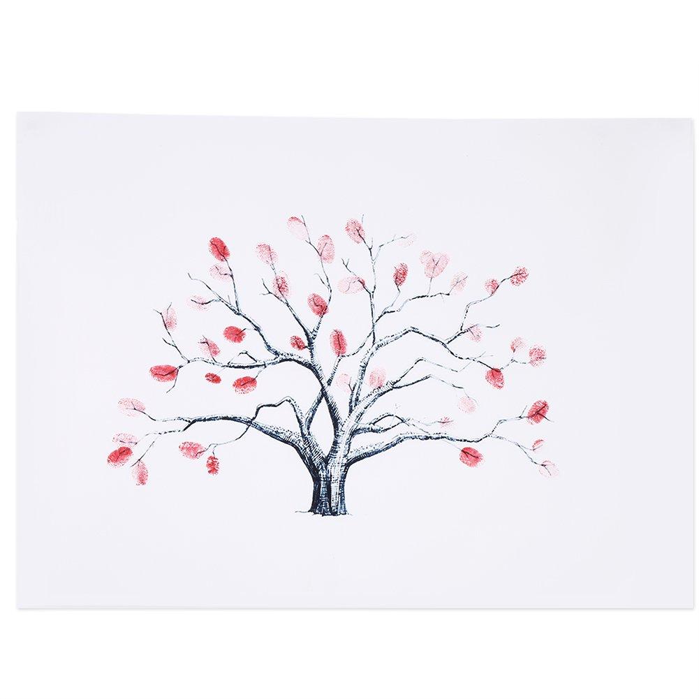4 Types Fingerprint Tree Custom Wedding Guestbook Wedding Guestbook Poster With 6 Colors Ink ( Color : TYPE1# )