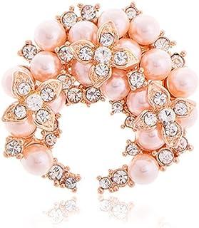 Fajewellery Écharpe Bijoux Foulard Alliage Boucle Anneau Camélia Fleur Perle Strass Broche pour Les Femmes XE0051