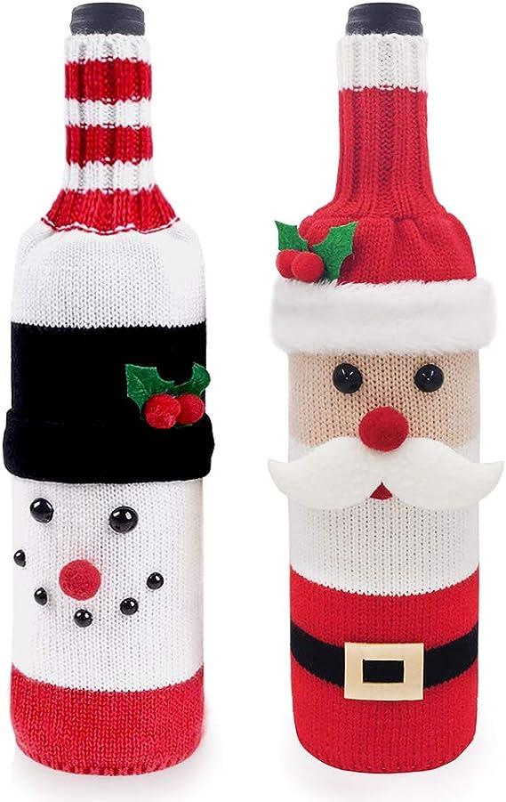 2Pcs // Set Cute Elk Wine Bottle Cover Cubierta de La Botella de Champ/án del Su/éTer Que Hace Punto Cubierta de Botella de Vino de Navidad para Navidad y Decoraci/ón de Fiestas
