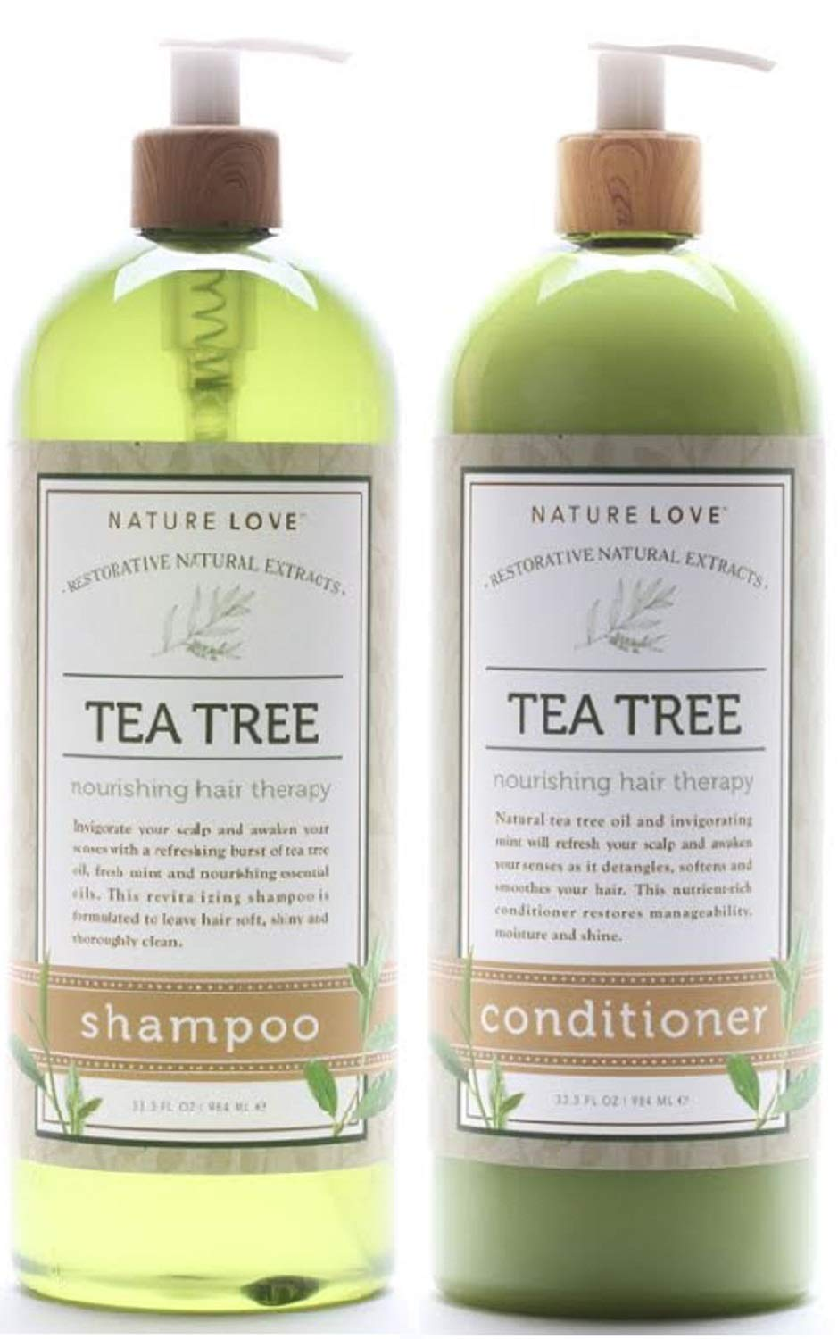 Nature Love Tea Tree Shampoo and Conditioner Duo - Invigorate Your Scalp and Awaken Your Senses with a Refreshing Burst of Tea Tree Oil, Fresh Mint, and Nourishing Essential Oils by NATURE LOVE HARMONIOUS WELL-BEING