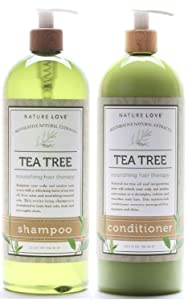 Nature Love Tea Tree Shampoo and Conditioner Duo - Invigorate Your Scalp and Awaken Your Senses with a Refreshing Burst of Tea Tree Oil, Fresh Mint, and Nourishing Essential Oils