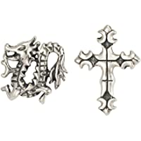 Couro Men's Dragon/Cross Stud Earrings, Silver, Model SE546