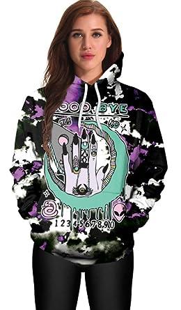 a8676536b Belsen Women's Halloween Long Sleeve Hoodies Sweatshirts (M, Alien Goodbye)