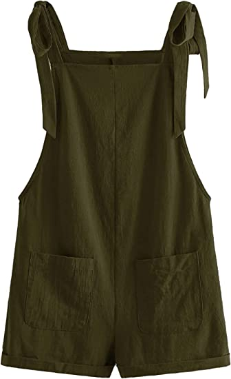 MakeMeChic Womens Leopard Print Overall Shorts Tie Shoulder Romper Jumpsuit with Pocket