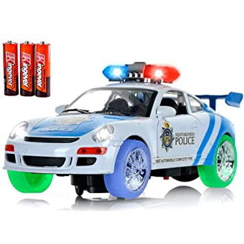 toysery police car toy with 3d technology flashing lights and sounds bump and go action car