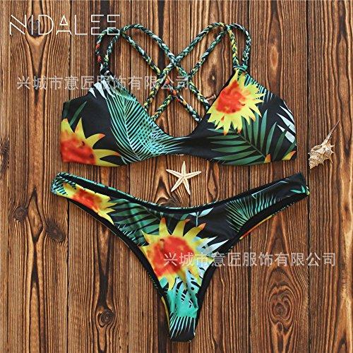 TIANLU da girasole supporta partita tessuto Beachwear mano e di singolo costume Sexy set S dimagrante pantaloni T bagno bikini ggwXqr
