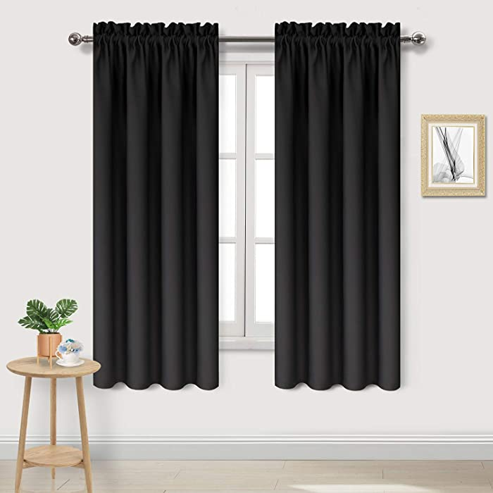DWCN Blackout Curtains – Thermal Insulated, Energy Saving & Noise Reducing Bedroom and Living Room Curtains, Black, W 42x L 63 Inch, Set of 2 Rod Pocket Curtain Panels
