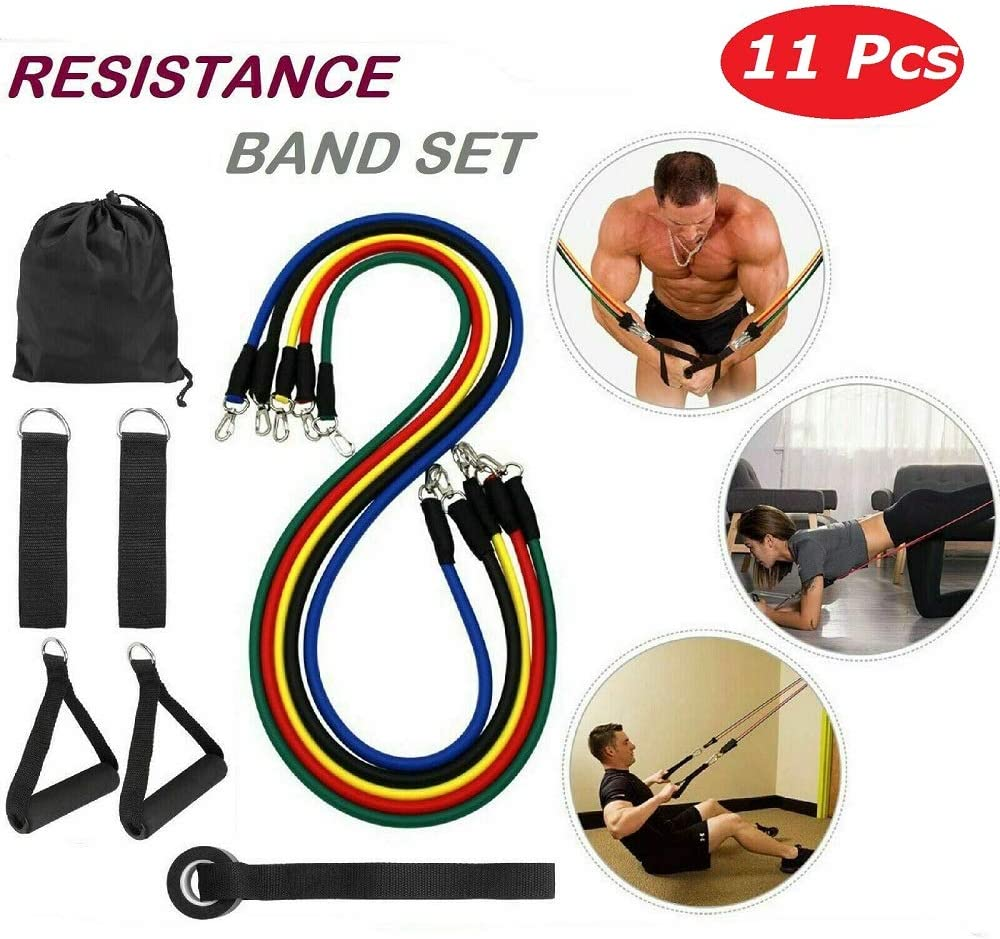 11 in Kit Upgrade Resistance Loop Bands Powerful Effective for Exercise Sports Fitness Home Gym Yoga 61c4-AMVchL