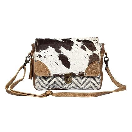 b1e44e08e9c7 Myra Bag Pearl Fusion Upcycled Canvas & Cowhide Messenger Bag S-1380