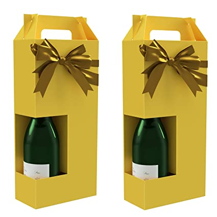 Wine Gift Box X2 Reusable Caddy Easy To Assemble No Glue Required Solid Yellow Holds 2 Bottles Margaux Collection Ez Wine Gift Box By
