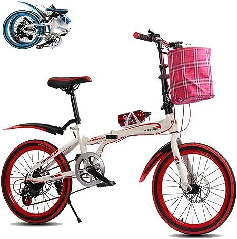 Bicicleta Plegable, Unisex Adulto Bikes Plegado, Sillin Confort,Marco De Acero De Alto Carbono, 20 Pulgadas 7 velocidades Bike Folding Urbana: Amazon.es: Deportes y aire libre