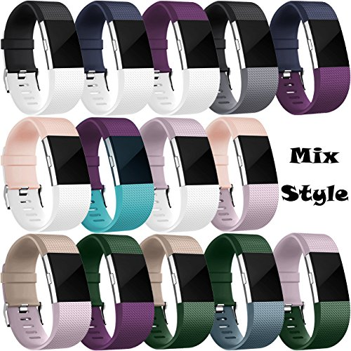 Wepro Bands Replacement for Fitbit Charge 2 HR, Buckle, 16 Pack, Large, Small