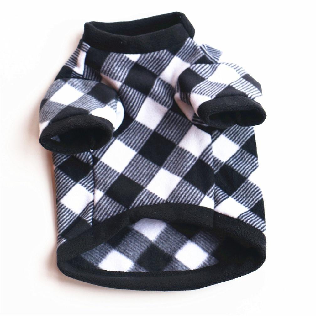 YOMXL Fashion Pet Plaid Short Sleeve T-Shirt Small Dog Cat Villus Warm Clothes Autumn Winter Puppy Doggy Apparel (XS, Black)