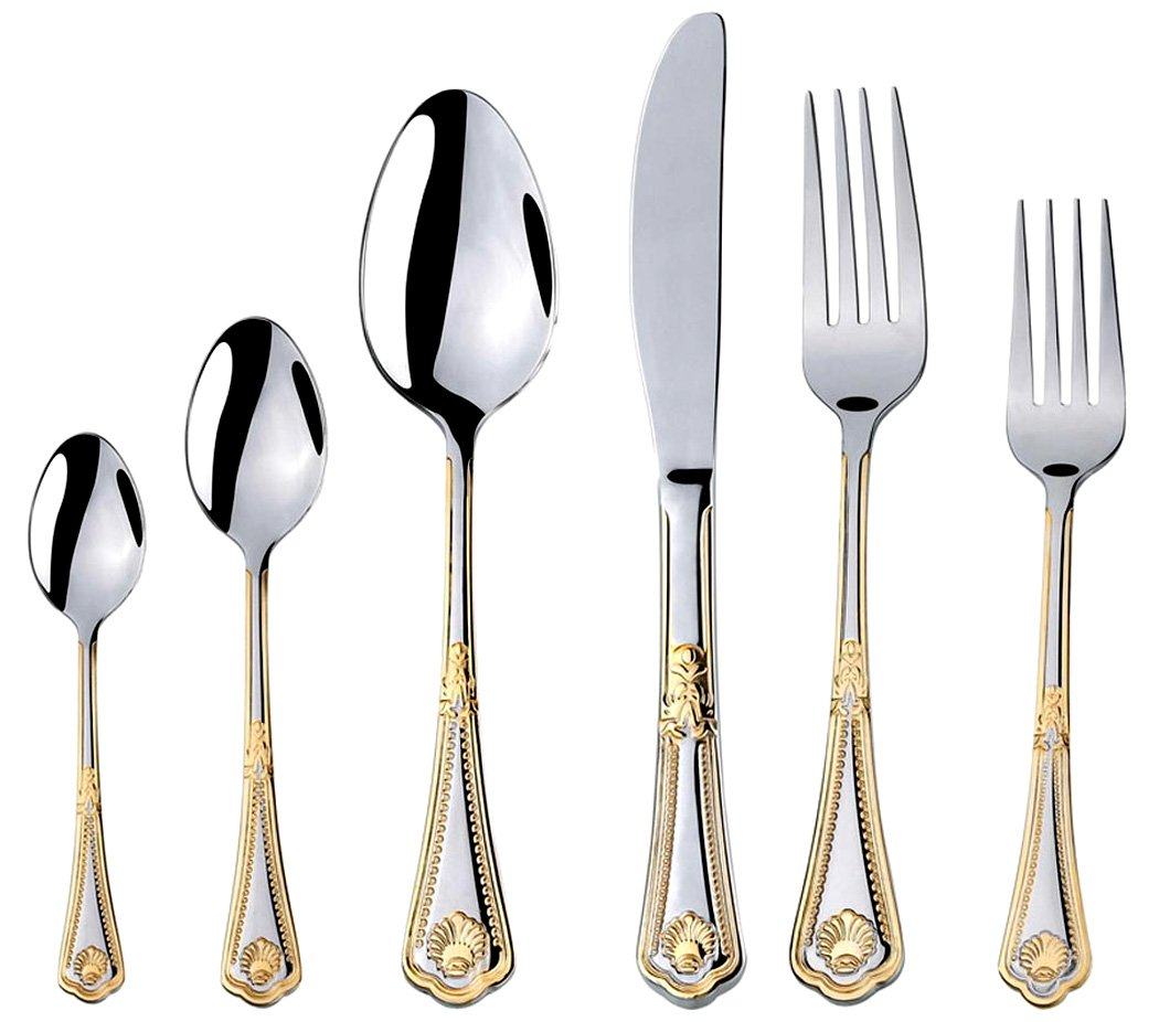 Venezia Collection''Seashell'' 75-Piece Fine Flatware Set, Silverware Cutlery Dining Service for 12, Premium 18/10 Surgical Stainless Steel, 24K Gold-Plated Hostess Serving Set