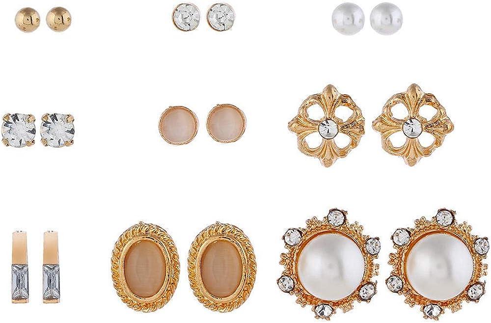 fangfaner Calado Flor Perla Opal Piedra Preciosa Conjunto De 9 Pendientes