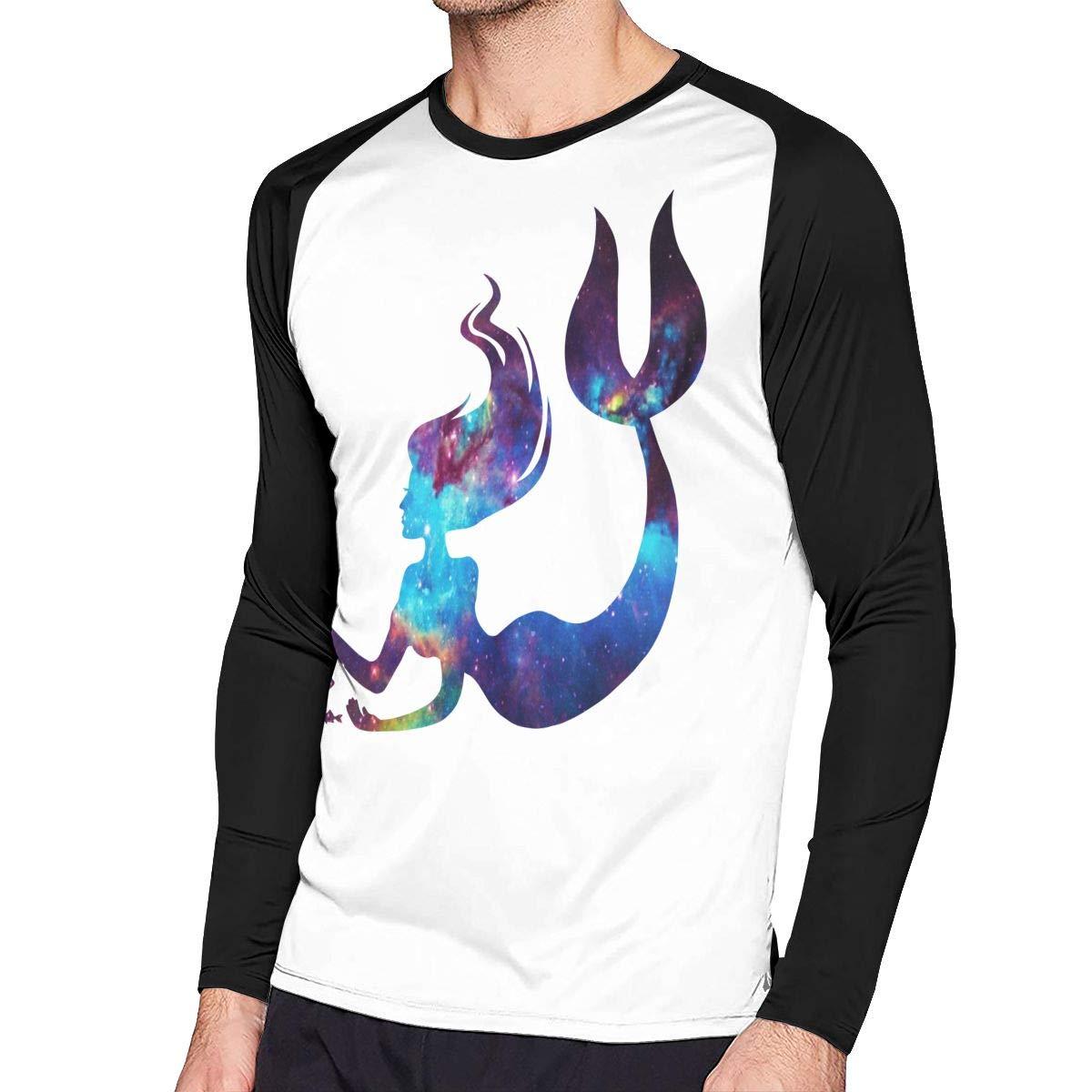 Mermaid Mens Baseball Crew-Neck Long Sleeve Shirts Raglan Top