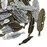 Naler 40pcs Feather Style Pendant Charm, Zinc Alloy Feather Charms for DIY Jewellery Making Finding Accessories, Art Craft Decoration, Silver & Bronze