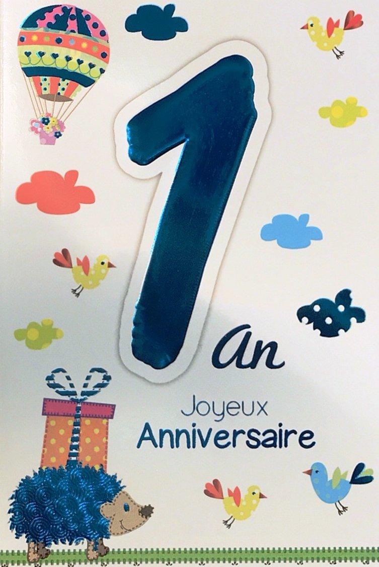Age Mv 69-2000 Carte Joyeux Anniversaire 1 an Bébé Garçon Fille motif Hérisson Cadeau Montgolfière Ballon Oiseaux AFIE