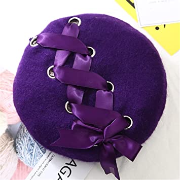 9d908f2368367 Amazon.com   New Sweet Cute Berets Women Winter Hats Soft Macaron Color  Ribbon Woolen Lolita Beret Classical Soft Straps Cross Bow purple   Beauty