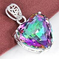 Woman Silver Love Heart Rainbow Mystical Topaz Gemstone Silver Necklace Pendant