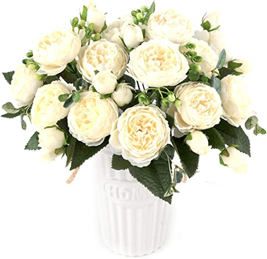 Roses Artificial Peony Fake Silk Flowers White Bridal Wedding Bouquet Home Decor