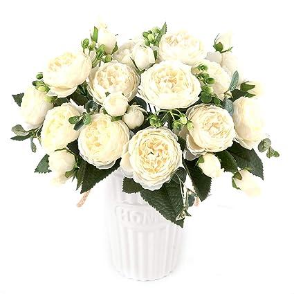 3 Head Artificial Flower Silk Rose Bouquet Fake Flower Home Wedding DIY Decor uk