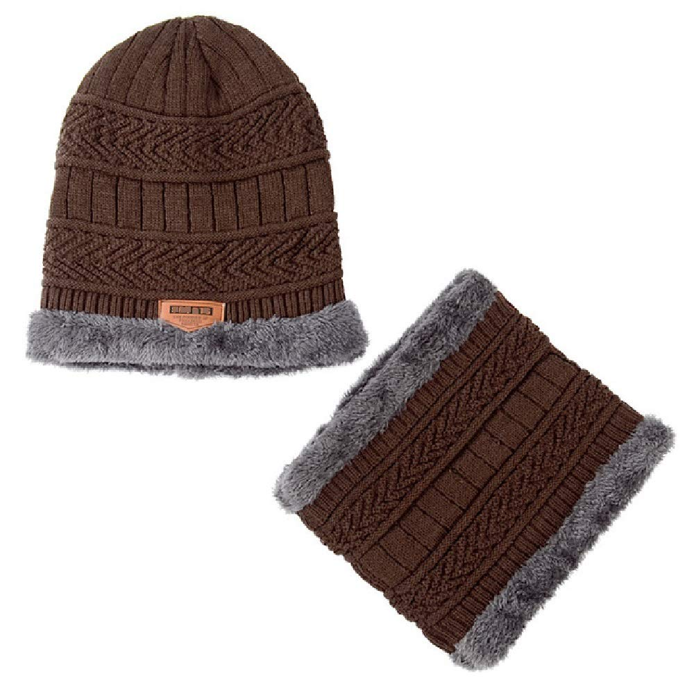 2-Pieces Mens Winter Beanie Hat Scarf Set Warm Knit Hat Thick Knit Skull Cap (Black)
