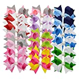 LCLHB Boutique Two-tone Stacked bows Barrette For Newborn Kids Teens Set of 20